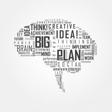 Vector Art Brain Typography