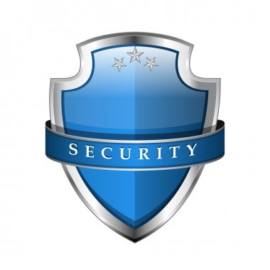 Glossy Shiny Blue Vector Shield Protection Icon