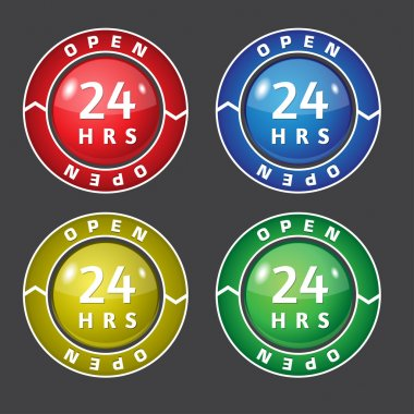 24 Hours Open Vector Icon