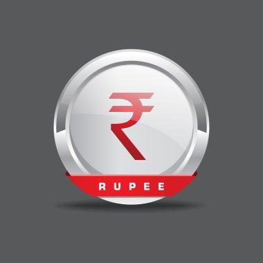 Indian Rupee Sign Vector Button