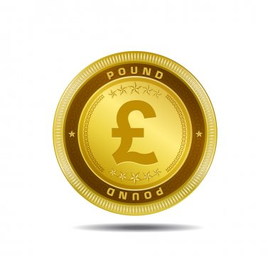 Pound Currency Sign Golden Coin Vector