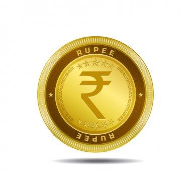 Indian Rupee Sign Golden Coin Vector