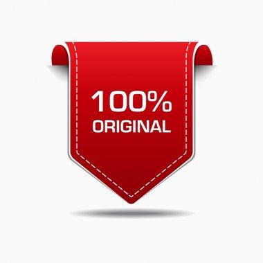 """Картина, постер, плакат, фотообои """"100% оригинальный дизайн вектора иконки с красной этикеткой """", артикул 48529047"""