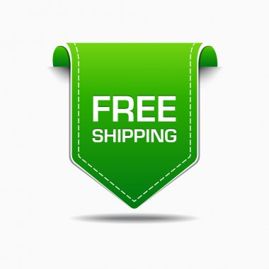 Free Shipping Green Label Icon Vector Design
