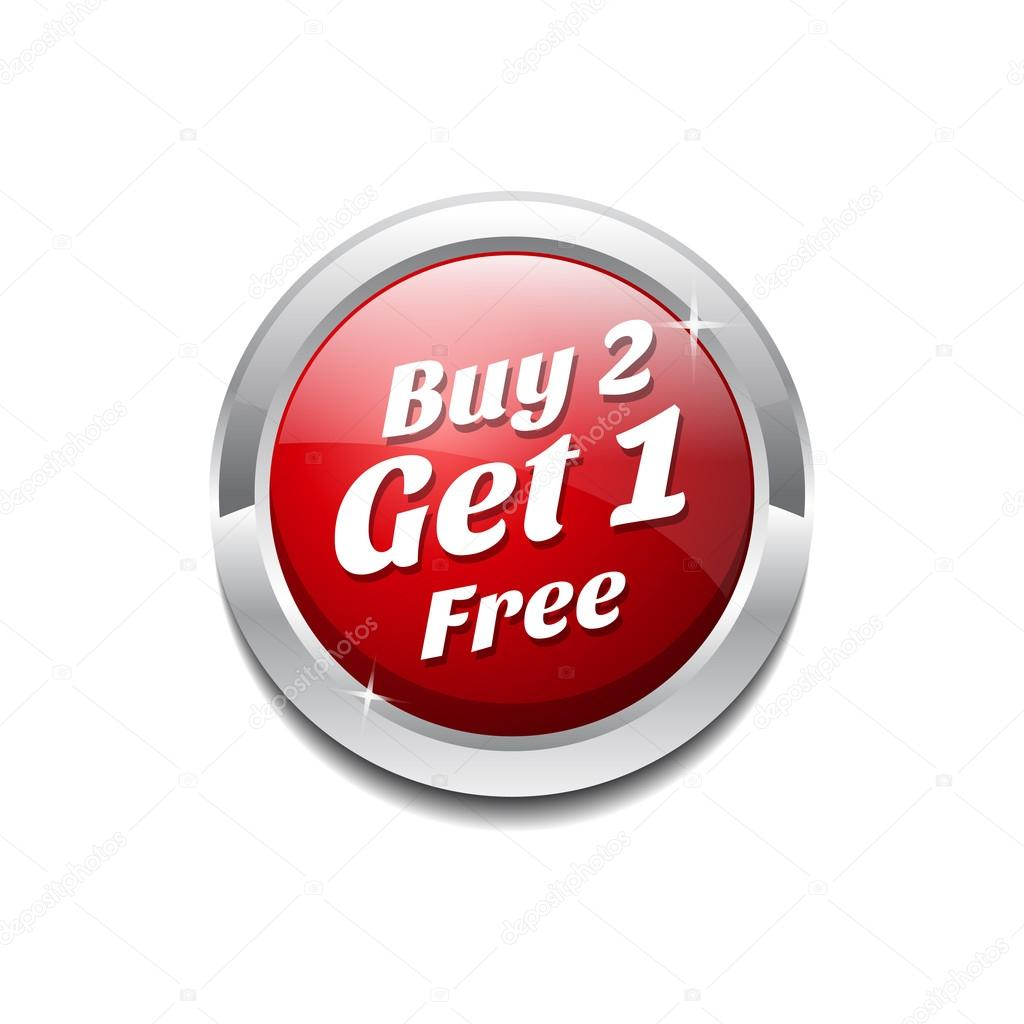 Buy: Buy 2 Get 1 Free Glossy Shiny Circular Vector Button