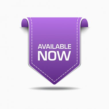 Available Now Purple Label Icon Vector Design