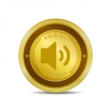 Voulme Circular Gold Vector Web Button Icon