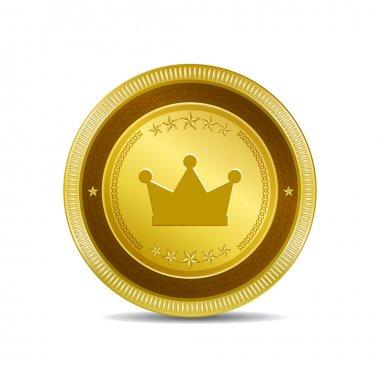 Crown Circular Vector Gold Web Icon Button