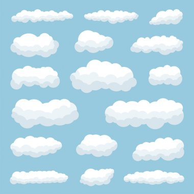 Cartoon clouds against blue sky stock vector