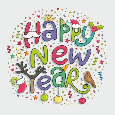 Happy new year typography design clip art vector