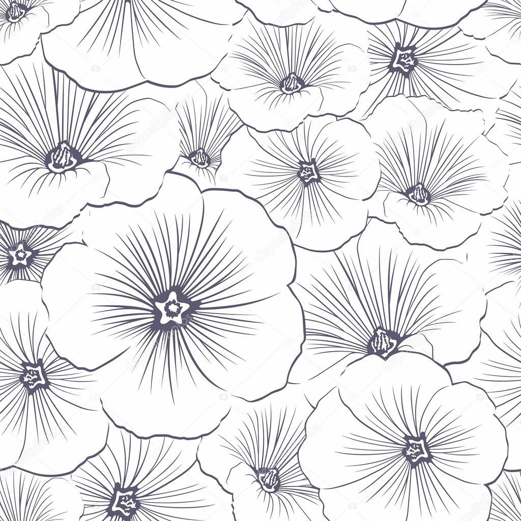 Vector Flower Rose Seamless Pattern