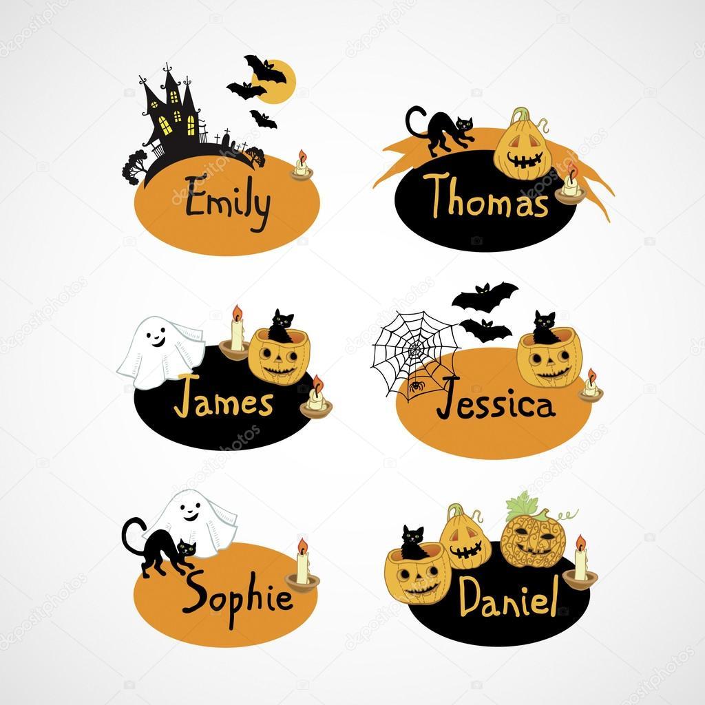 Name cards for Halloween party — Stock Vector © Ann_art #30587925