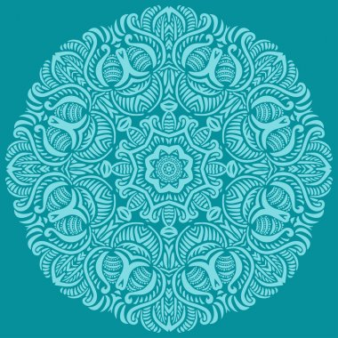 Turquoise circular ornament. Vector illustration for greeting cards, invitations, and other printing and web projects. stock vector