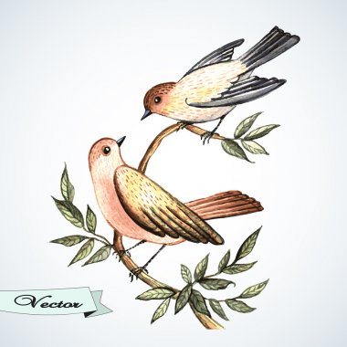 Vector watercolor bird lovers