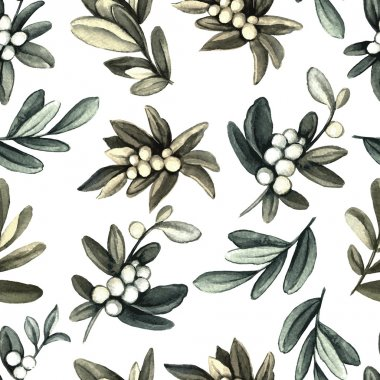 Pattern with mistletoe branches