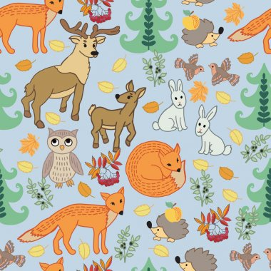 Pattern with cartoon little animals