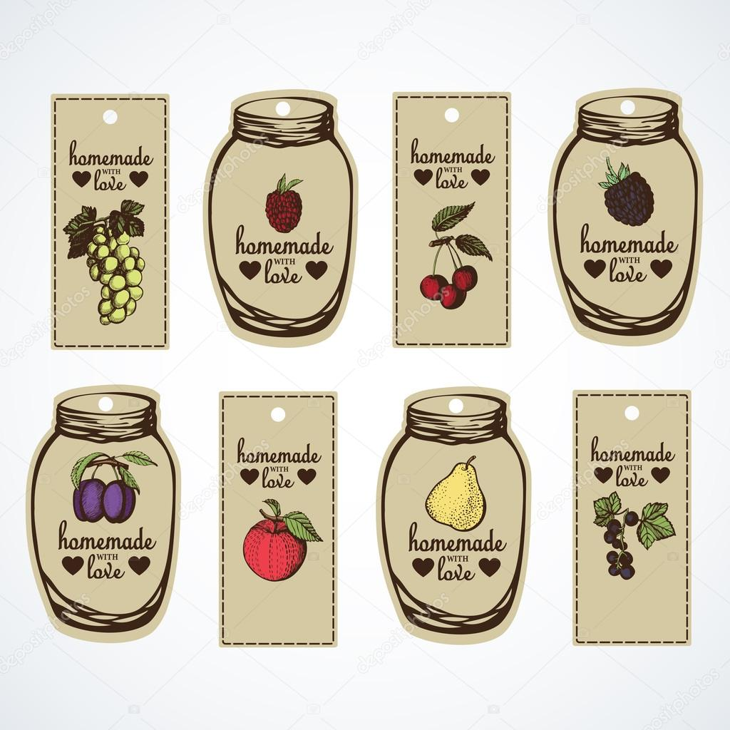 Labels for jars of homemade jam — Stock Vector