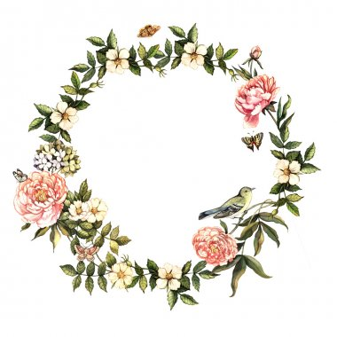 Vintage watercolor wreath with flowers and birds