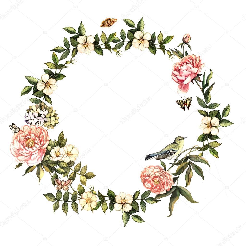 старинные акварельные венок с цветами и птицами Стоковое