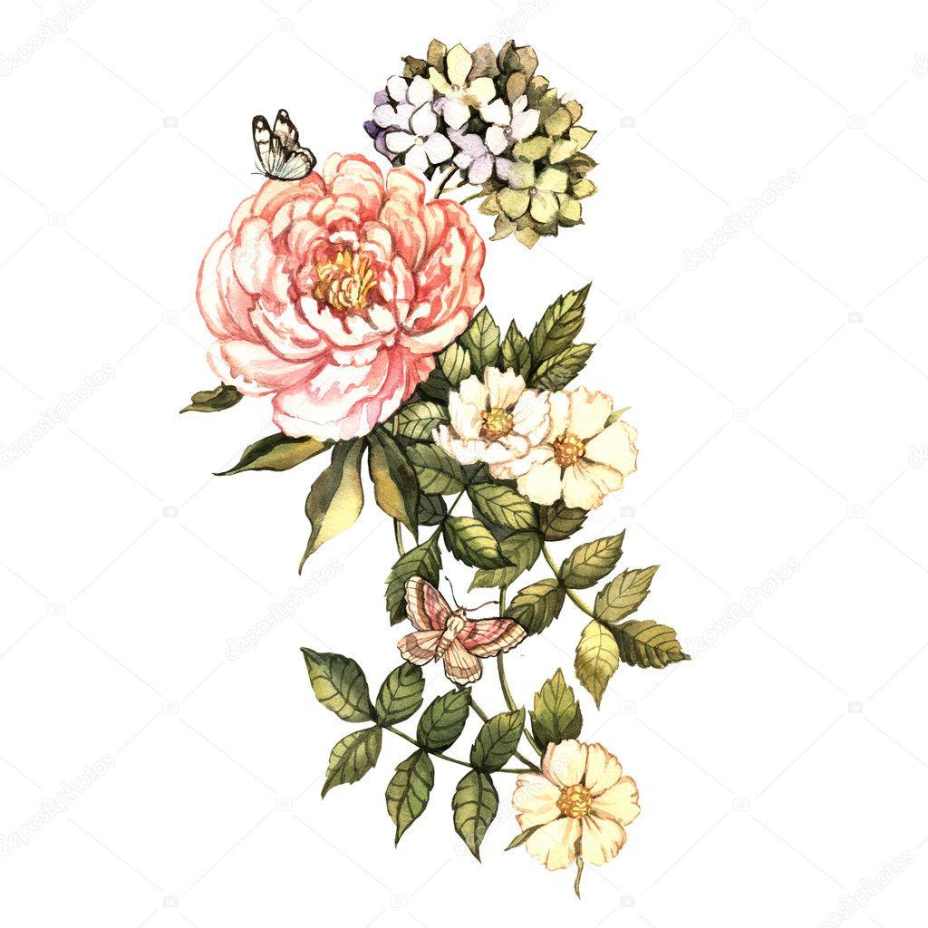 Watercolor vintage floral motifs — Stock Photo © Ann_art