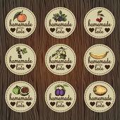 Fotografia set di etichette dannate per marmellata