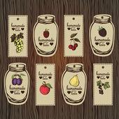 Photo Decorative set of retro labels for fruit jams.