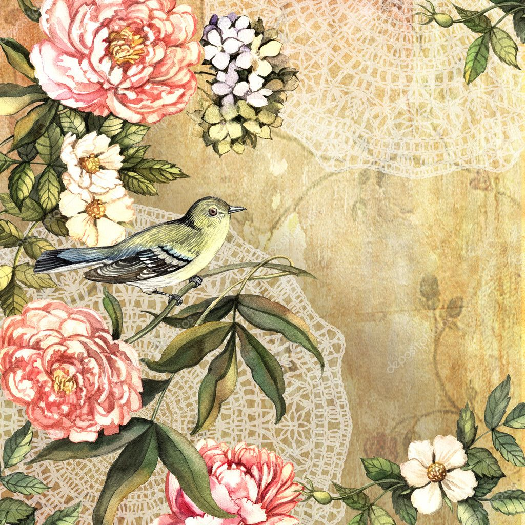 vintage dekorative aquarell hintergrund mit blumen und vogel stockfoto ann art 44141117. Black Bedroom Furniture Sets. Home Design Ideas