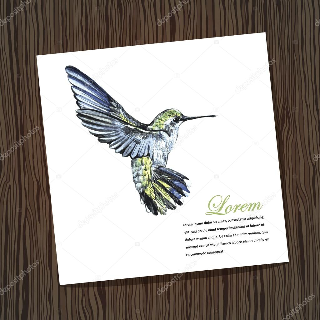 Card with watercolor hummingbird stock vector annart 44140989 card with watercolor hummingbird watercolor handmade illustration for greeting cards invitations and other printing and web projects m4hsunfo