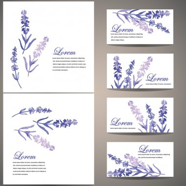 Set of cards with watercolor flowers of lavender.