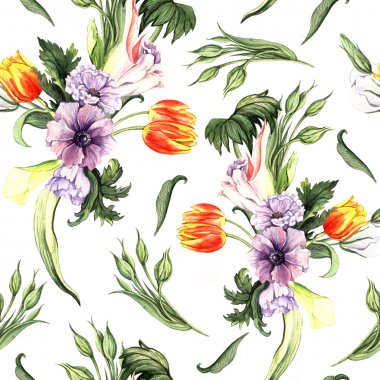 Watercolor vintage floral pattern