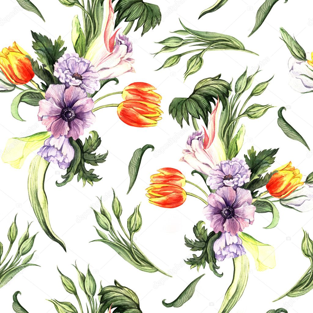 Watercolor vintage floral pattern