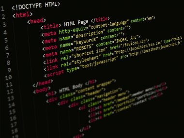Code,HTML script in text editor