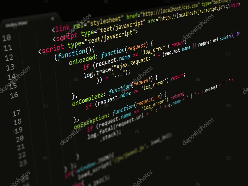 Code,JavaScript in text editor — Stock Photo © iinspiration