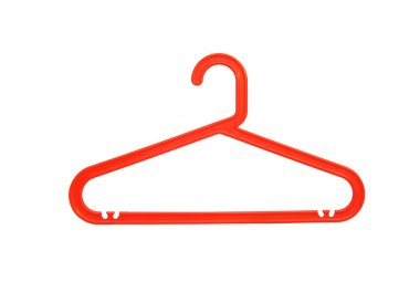 red plastic clothes hanger