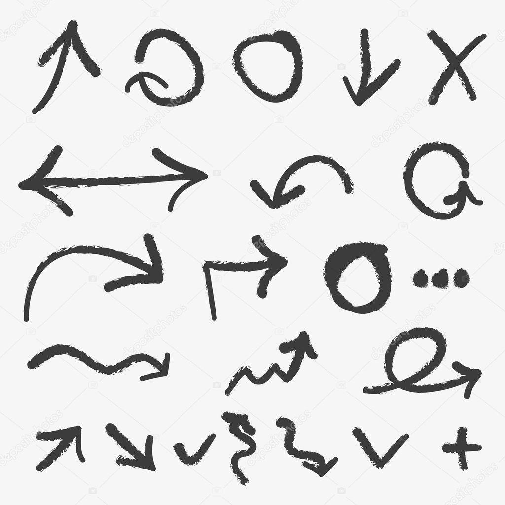 Vector hand drawn arrows
