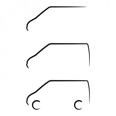 Set of van stroke silhouettes
