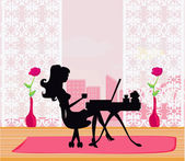 Fotografie Online-shopping - junge Frau sitzt mit Laptop compu