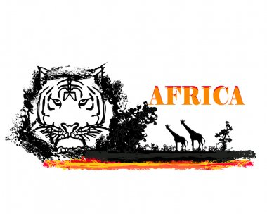 Grunge background with African fauna and flora