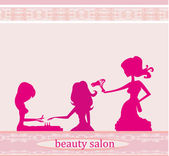Fotografie Vector illustration of the beautiful woman in beauty salon