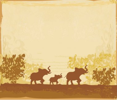 Grunge background with elephant family