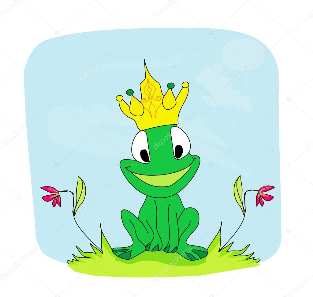 personaje de dibujos animados de príncipe rana — Vector de stock ...