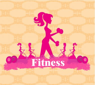 Abstract fitness girl training - poster background