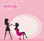 Vector illustration of the beautiful woman in hairdressing salo