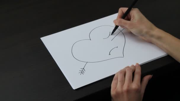 Female hand drawing heart