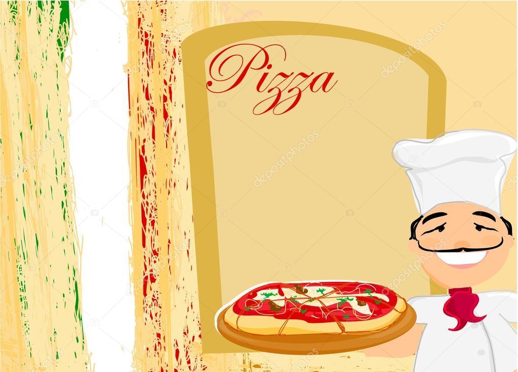 chef con pizza - plantilla de menú — Vector de stock © JackyBrown ...