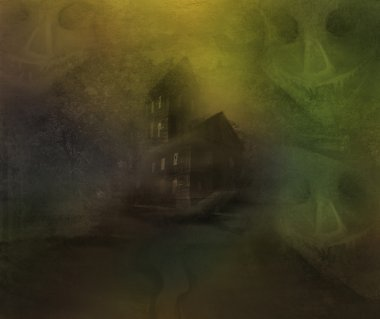 grungy Halloween background with haunted house
