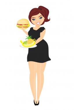 fat woman choosing between fruit and hamburger. Isolated.