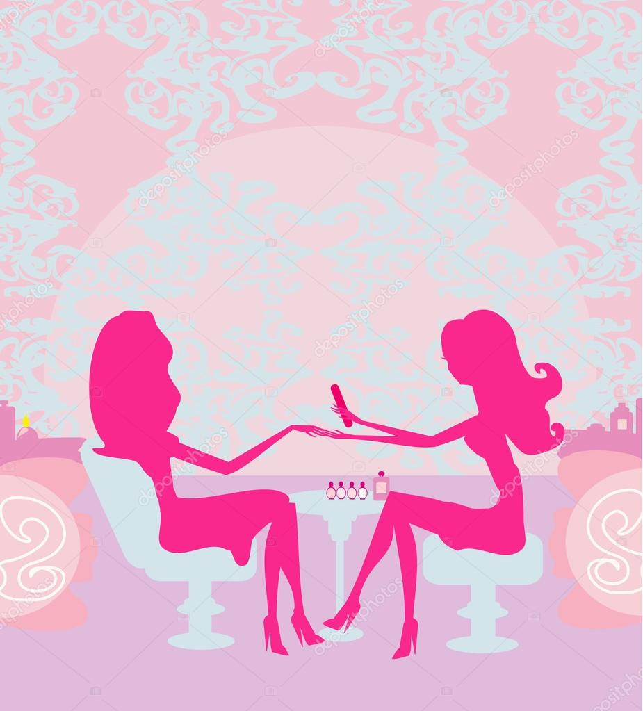 Nails Art Beauty Salon Background Stock Vector: Young Lady Doing Manicure In Beauty Salon