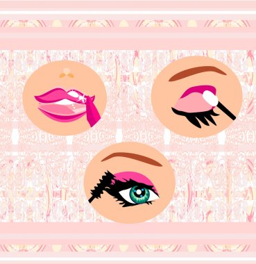 Lips paint with lipstick, eyes ink and eyeshadow clip art vector