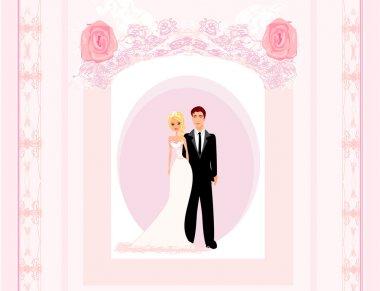Wedding invitation card with a cute couple stock vector